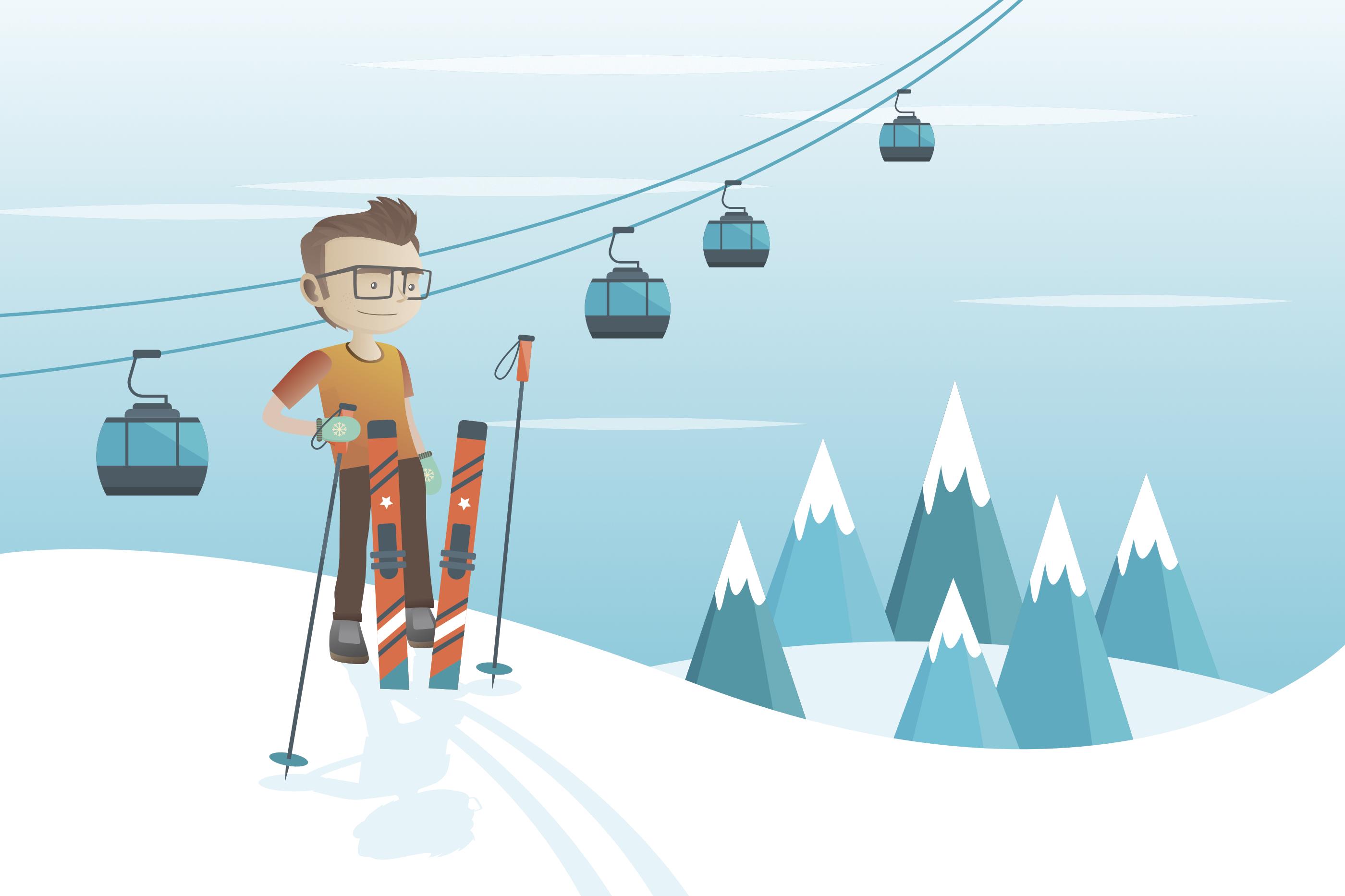 Student auf Skiern