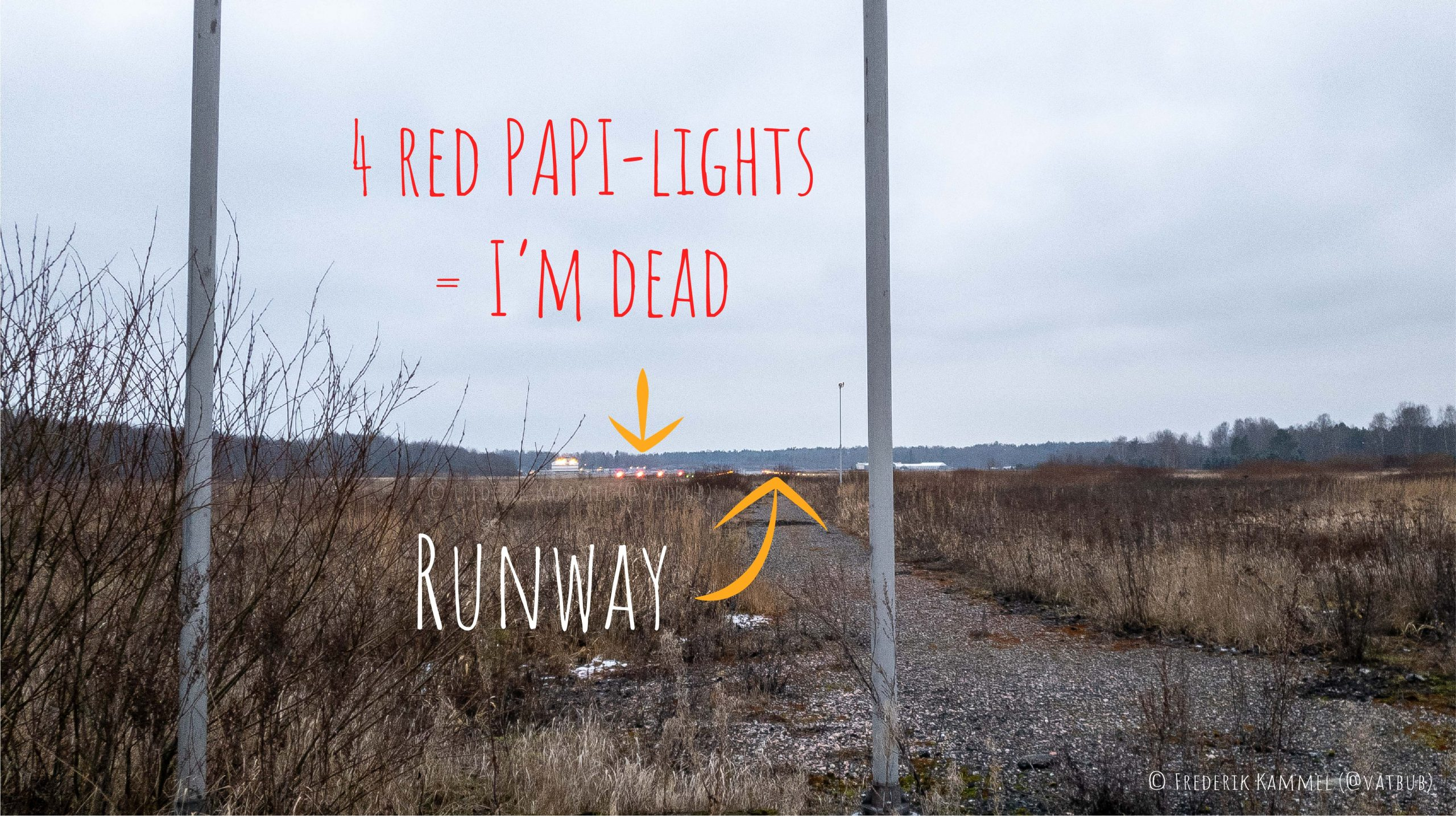 PAPI lights and runway of the airfield in Malmi. Text in the image: Runway; 4 red PAPI-lights = I'm dead